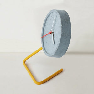 handmade twistick concrete yellow table clock grey