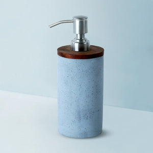 mesa round wooden lid soap dispenser grey