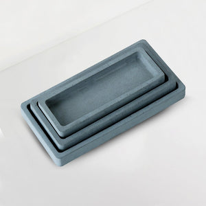 set of 3 concrete rectangular trays grey
