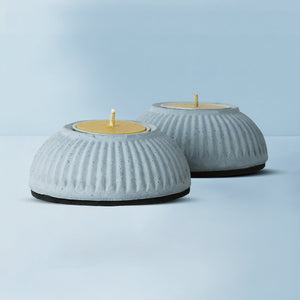 set of 2 indilight concrete candle holders grey