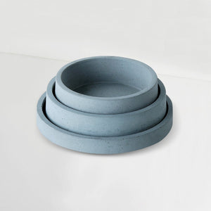 set of 3 concrete circular organiser trays grey