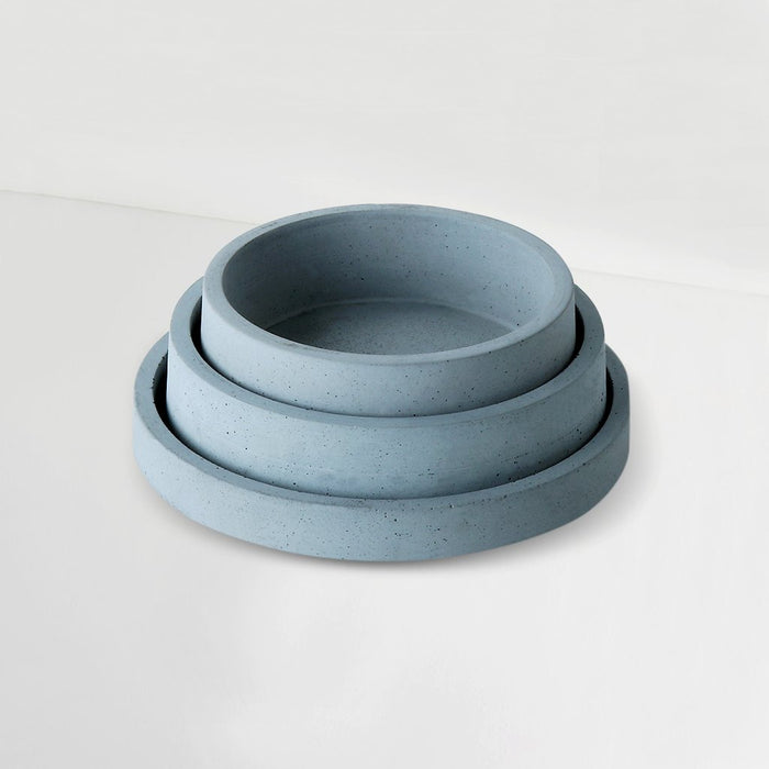 Set of 3 Concrete Circular Organiser Trays