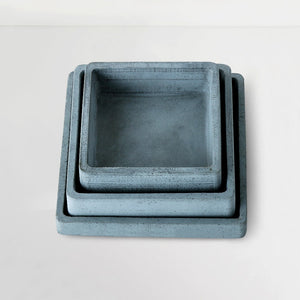 set of 3 concrete handmade square trays grey