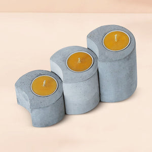 set of 3 linelight concrete candle holders grey