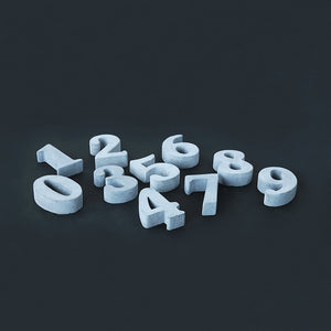 set of 9 ank concrete decorative numbers grey
