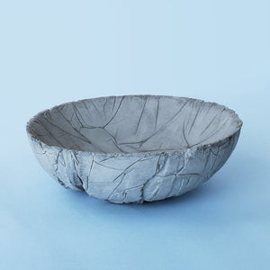 small concrete crinkled tasla bowl grey