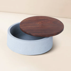 wood concrete mesa round tray grey