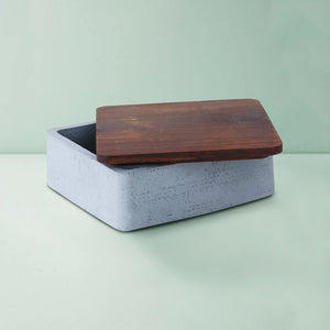 wood concrete mesa square tray grey
