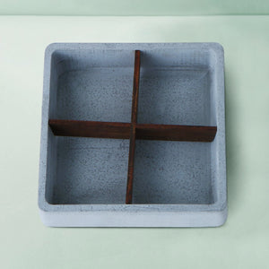 concrete mesa wooden cross square tray grey