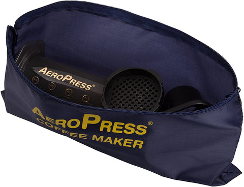 AeroPress Coffee Maker in travel bag