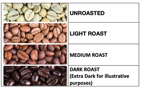 Visual of different Coffee Roasts