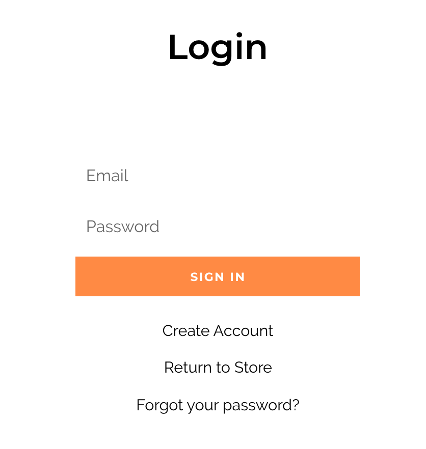 Create account button on login screen