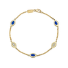 Five Link Bracelet Blue Enamel and Diamonds