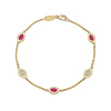 Five Link Bracelet Purple Enamel and Diamonds