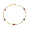 Five Link Bracelet Purple and Blue Enamel