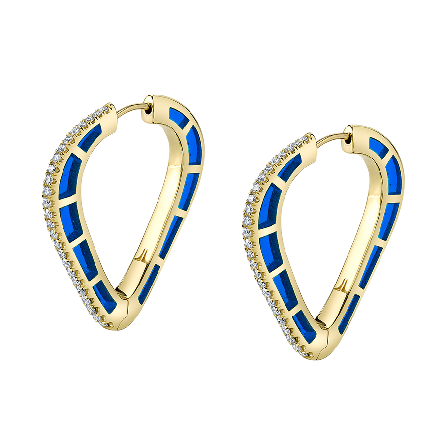 Cobra Hoop Earrings with Blue Enamel and Diamond Pave