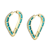 Cobra Hoop Earrings with Light Blue Enamel and Diamond Pave