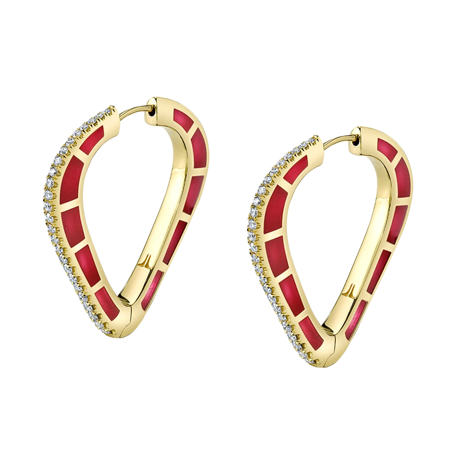Cobra Hoop Earrings with Red Enamel and Diamond Pave