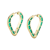Cobra Hoop Earrings with Green Enamel