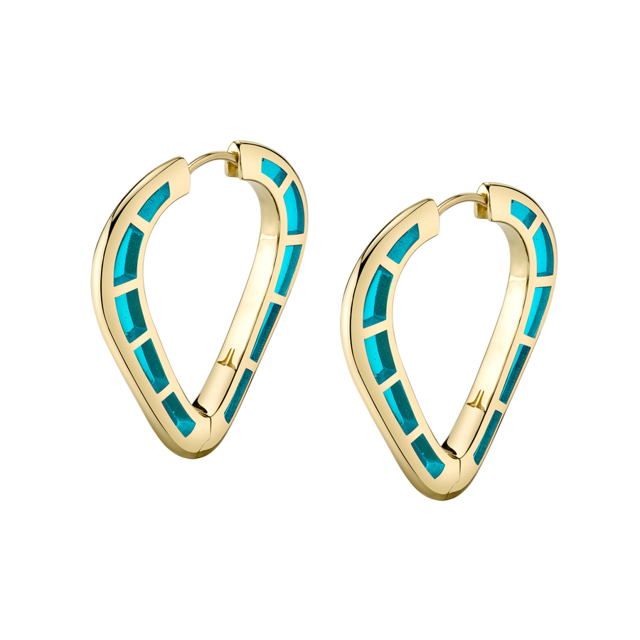 Cobra Hoop Earrings with Light Blue Enamel