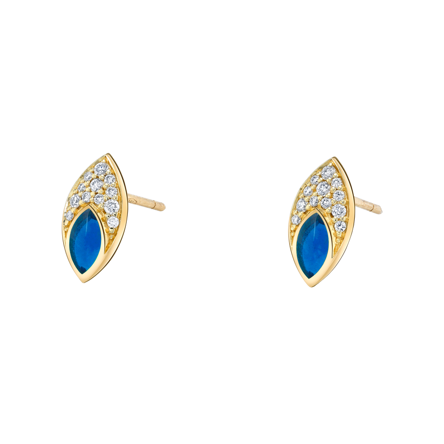 Marquise Stud Earring with Blue Enamel and Diamond Pave