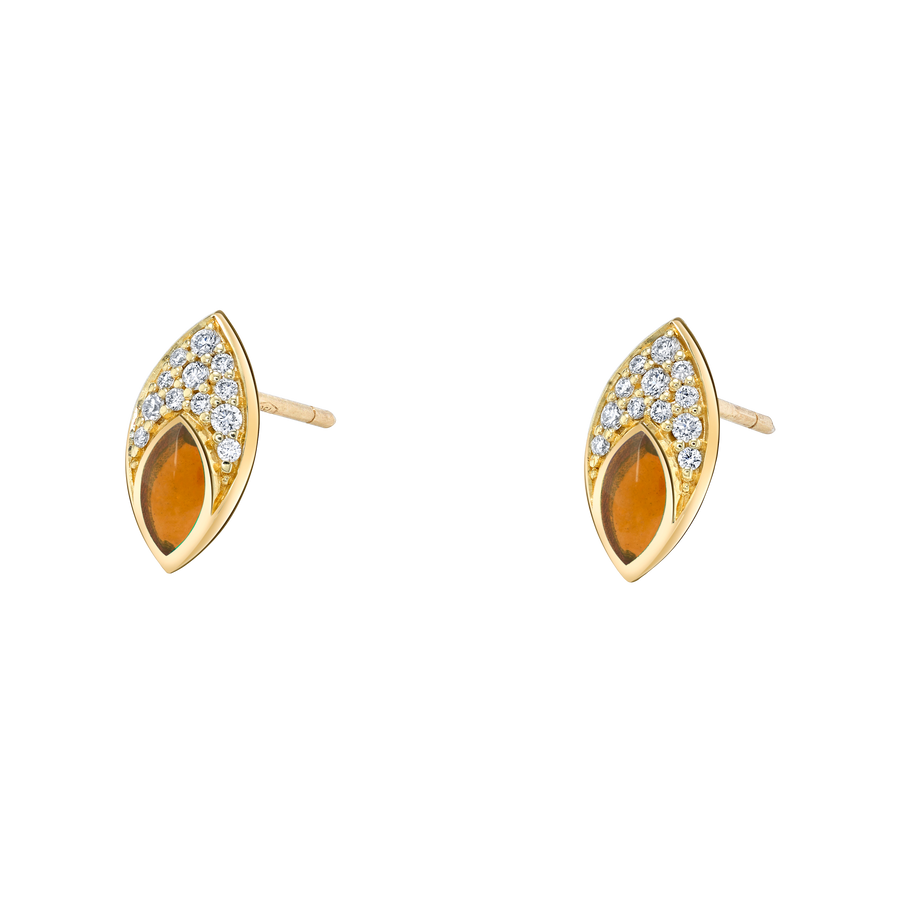 Marquise Stud Earring with Orange Enamel and Diamond Pave
