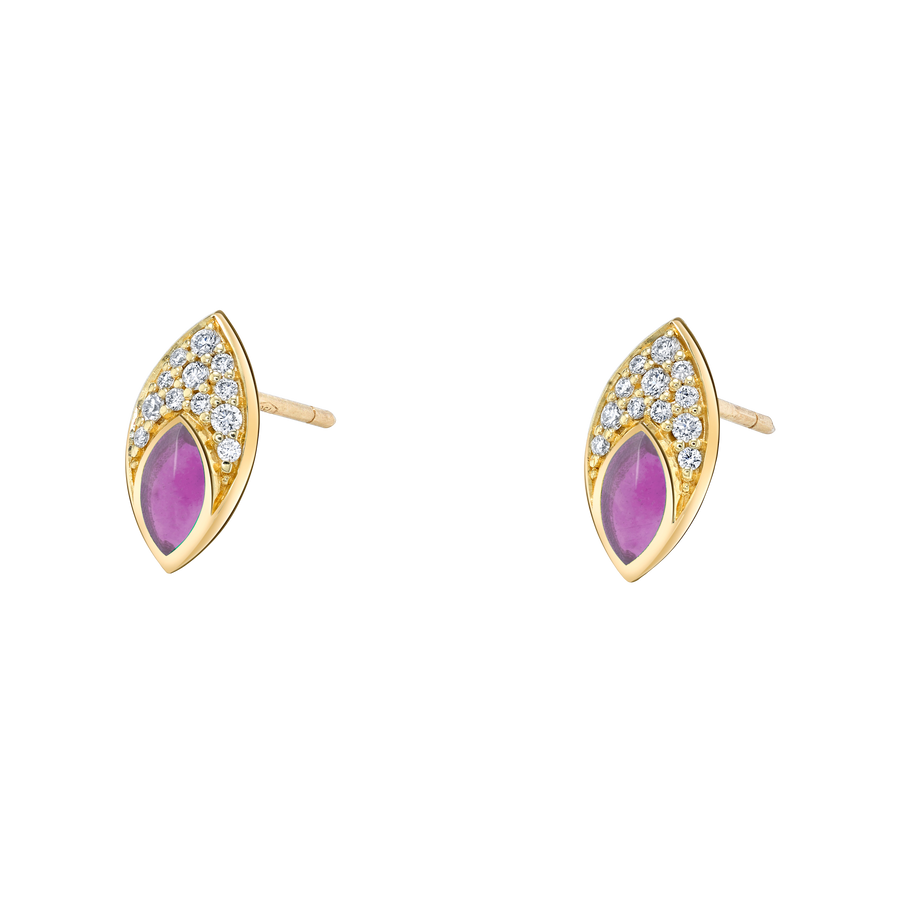 Marquise Stud Earring with Purple Enamel and Diamond Pave