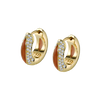 The Perfect Huggie Earring with Cognac Enamel and Diamond Pave