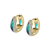 The Perfect Huggie Earring with Light Blue Enamel and Diamond Pave