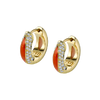 The Perfect Huggie Earring with Orange Enamel and Diamond Pave