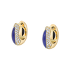 The Perfect Huggie Earring with Lapis Inlay and Diamond Pave