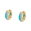 The Perfect Huggie Earring with Turquoise Inlay and Diamond Pave