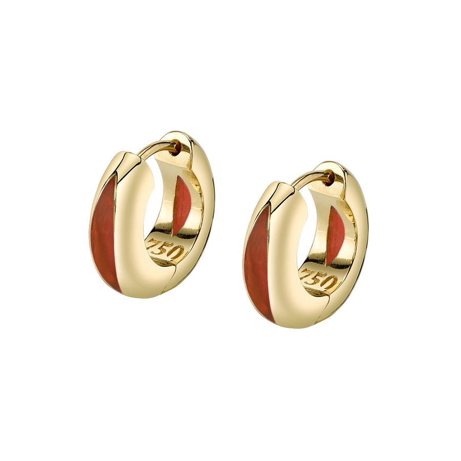The Perfect Huggie Earring with Cognac Enamel