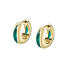 The Perfect Huggie Earring with Green Enamel