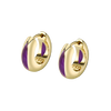 The Perfect Huggie Earring with Purple Enamel