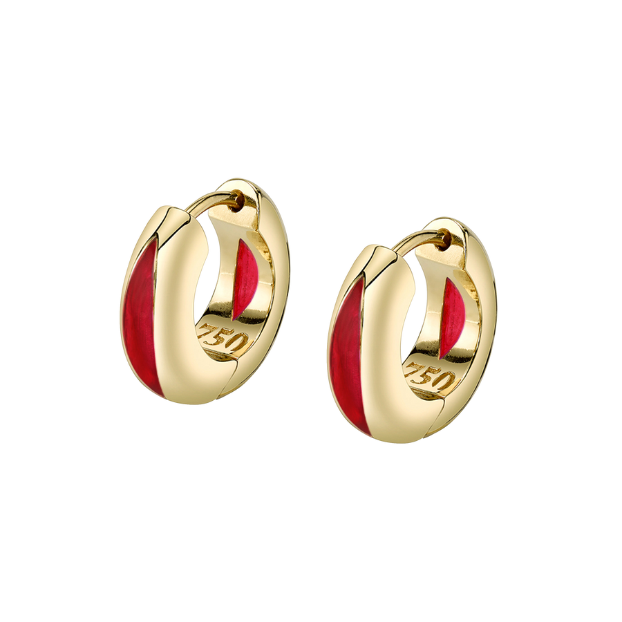 The Perfect Huggie Earring with Red Enamel
