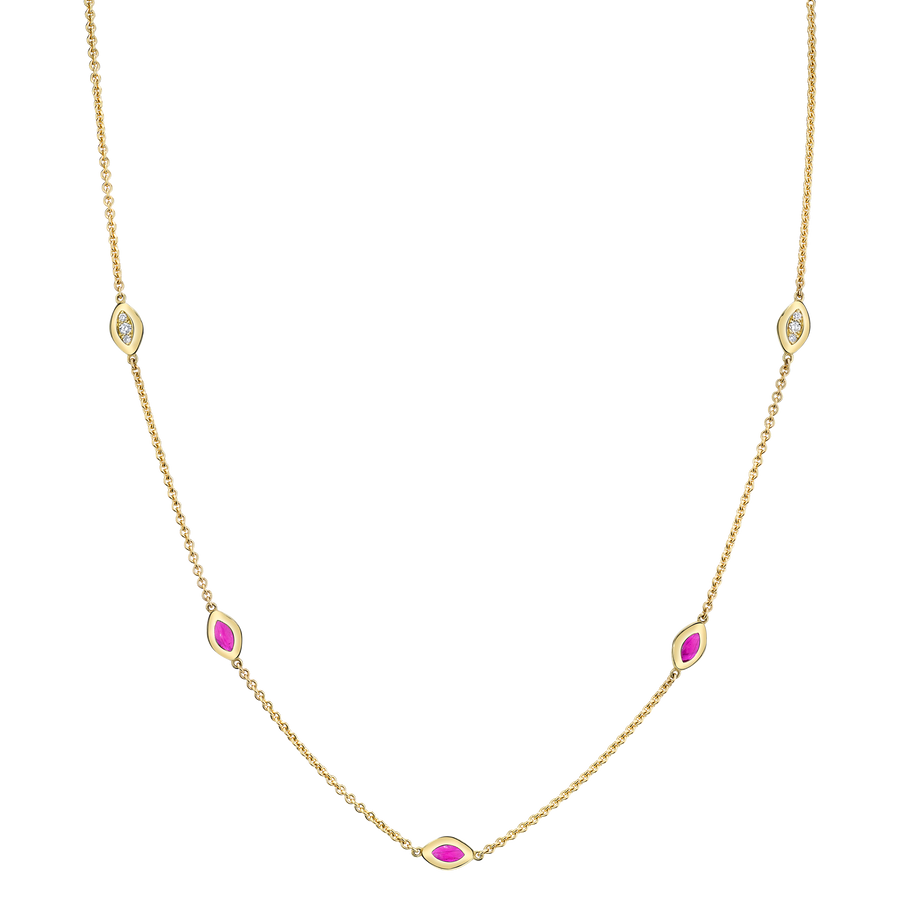 Five Link Italian Gold Necklace with Purple Enamel and Diamond Pave