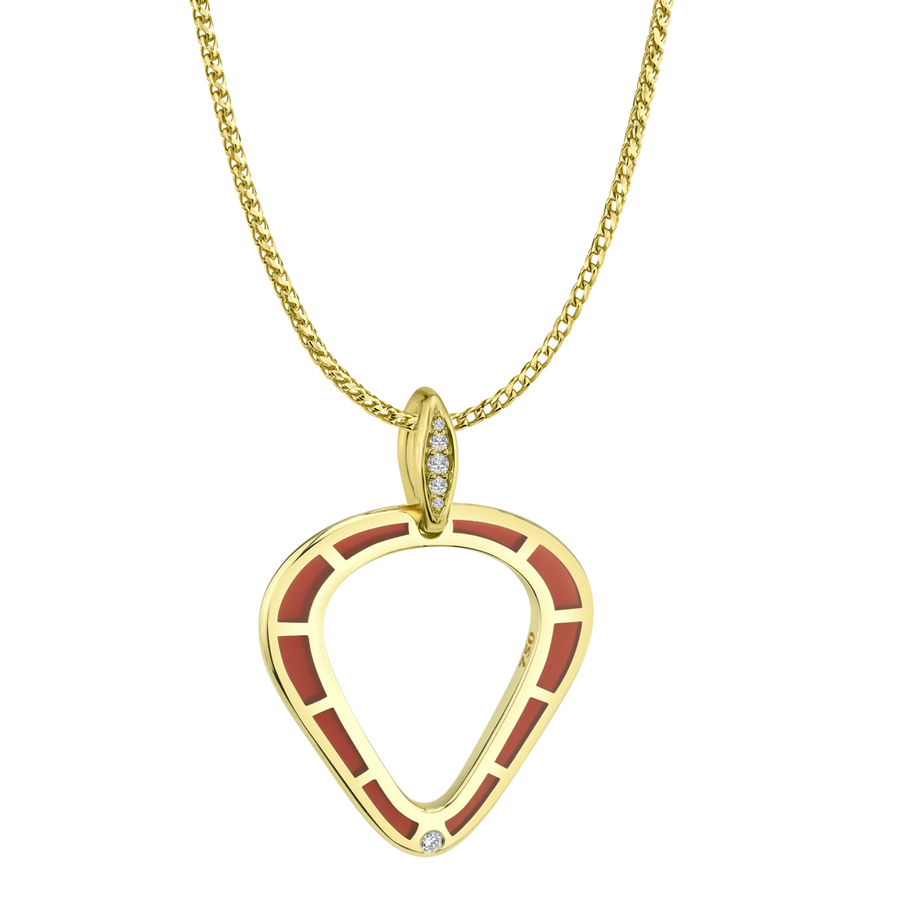 Cobra Pendant with Red Enamel and Diamond Pave