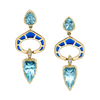 Precision Cut Earrings featuring Aquamarines with Blue Enamel and Diamond Pave