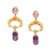 Precision Cut Earrings with featuring Garnets and Morganites with Orange Enamel and Diamond Pave