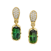 Precision Cut Earrings featuring Green Tourmaline with Diamond Pave
