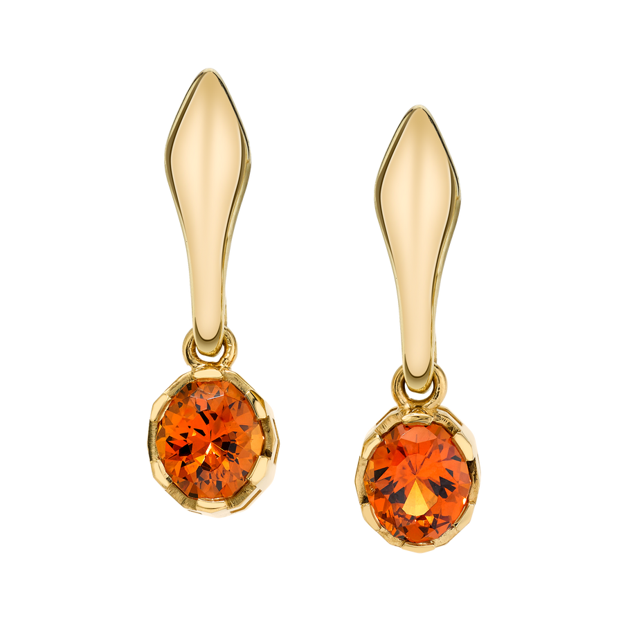 Precision Cut Earrings with Orange Spessartite Garnets