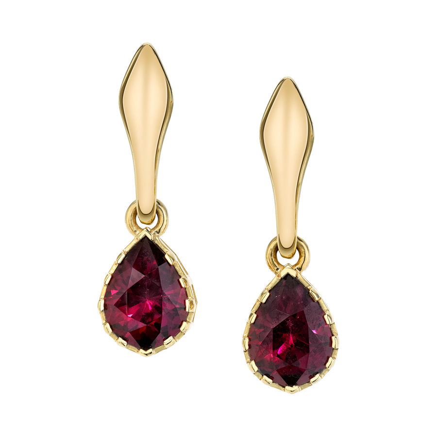Precision Cut Earrings with Red Garnets