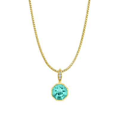 Sacred Shade Necklace featuring a Precision-Cut Aquamarine with Diamond Pave