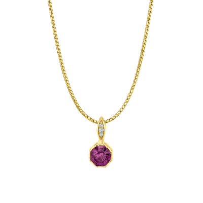 Sacred Shade Necklace featuring a Precision-Cut Grape Garnet with Diamond Pave