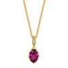 Genesis Necklace featuring a Precision-Cut Raspberry Garnet with Diamond Pave