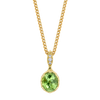 Modern Oval Necklace featuring a Precision-Cut Green Tourmaline with Diamond Pave