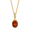 Modern Oval Necklace featuring a Precision-Cut Spessartite Garnet with Diamond Pave