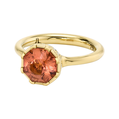 Sacred Shade Ring featuring a Precision-Cut Champagne Tourmaline with Diamond Pave