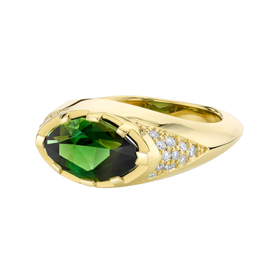 Primary Contrast Ring featuring a Precision-Cut Green Tourmaline with Diamond Pave